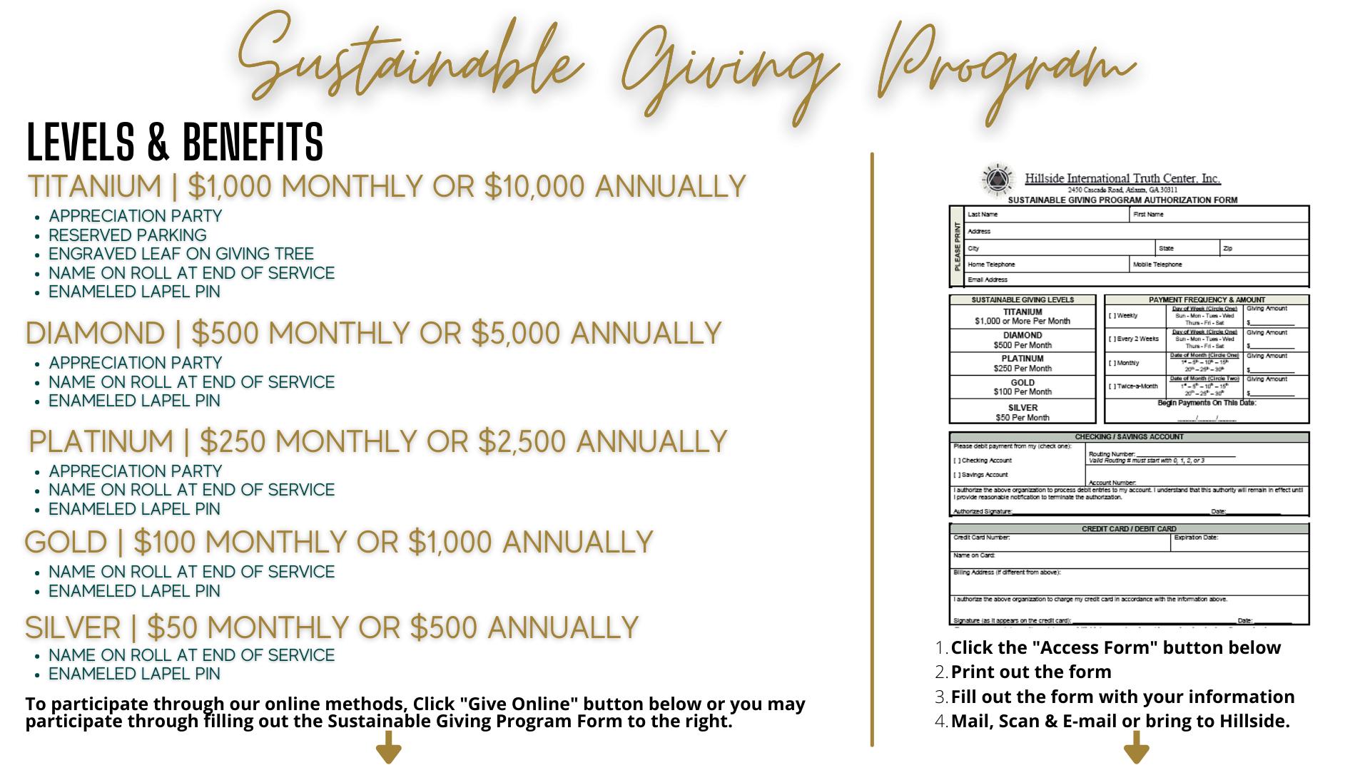 Hillside Sustainable Giving Program Levels